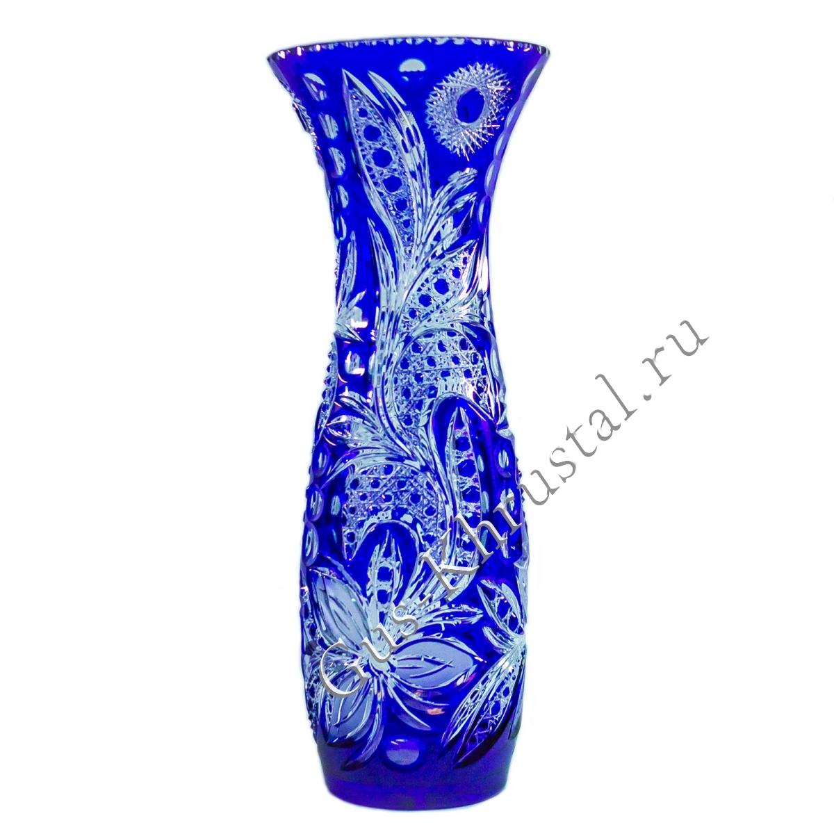 Ваза Хрустальная Для Цветов Натали синяя
